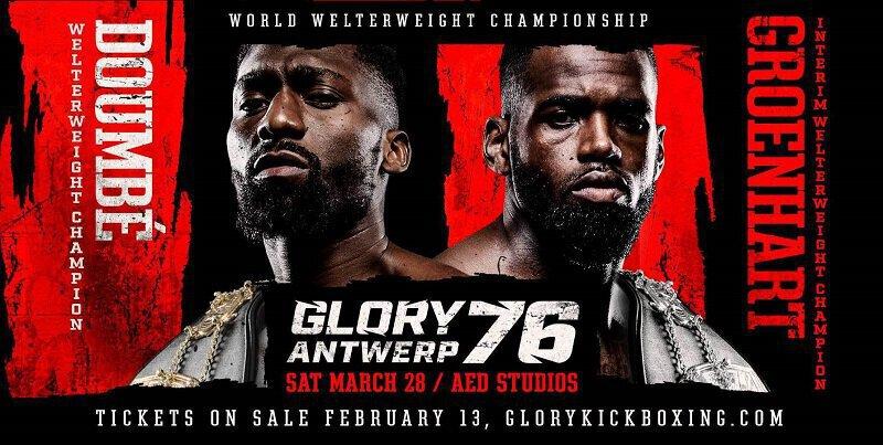 La trilogie DOUMBE vs GROENHART prévue le 28 mars au GLORY 76 Antwerp