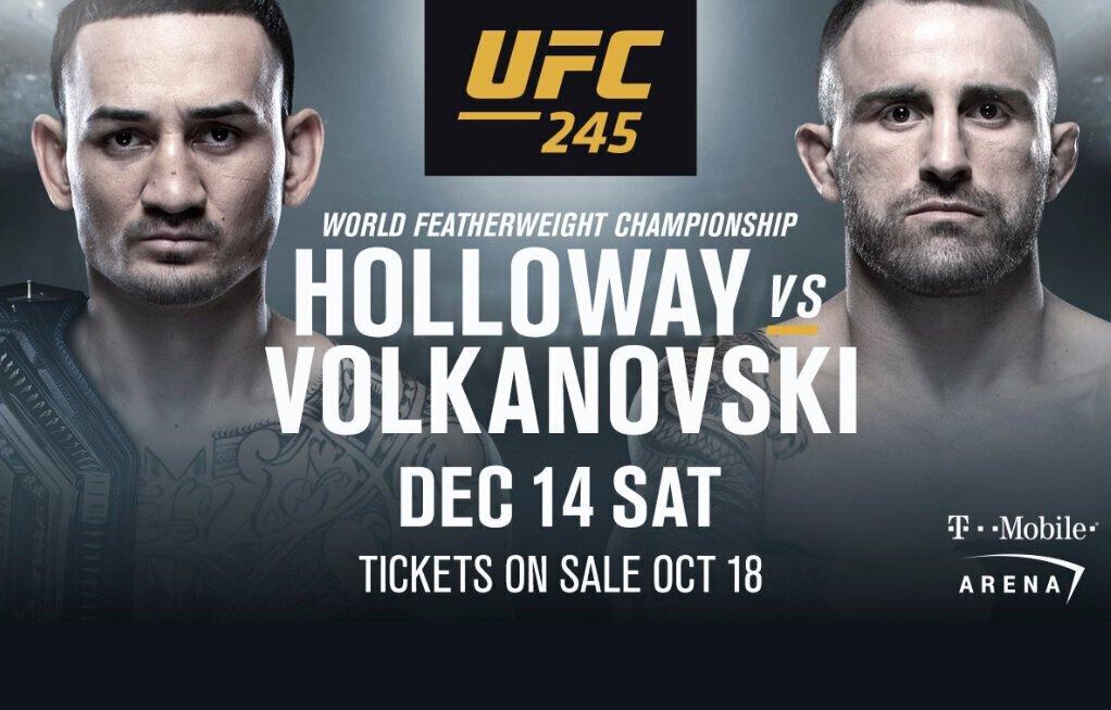 Max HOLLOWAY défendra sa ceinture face à Alexander VOLKANOVSKI à l'UFC 245